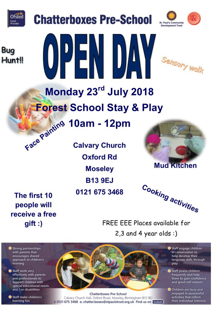 Chatterboxes Open Day Poster July 2018