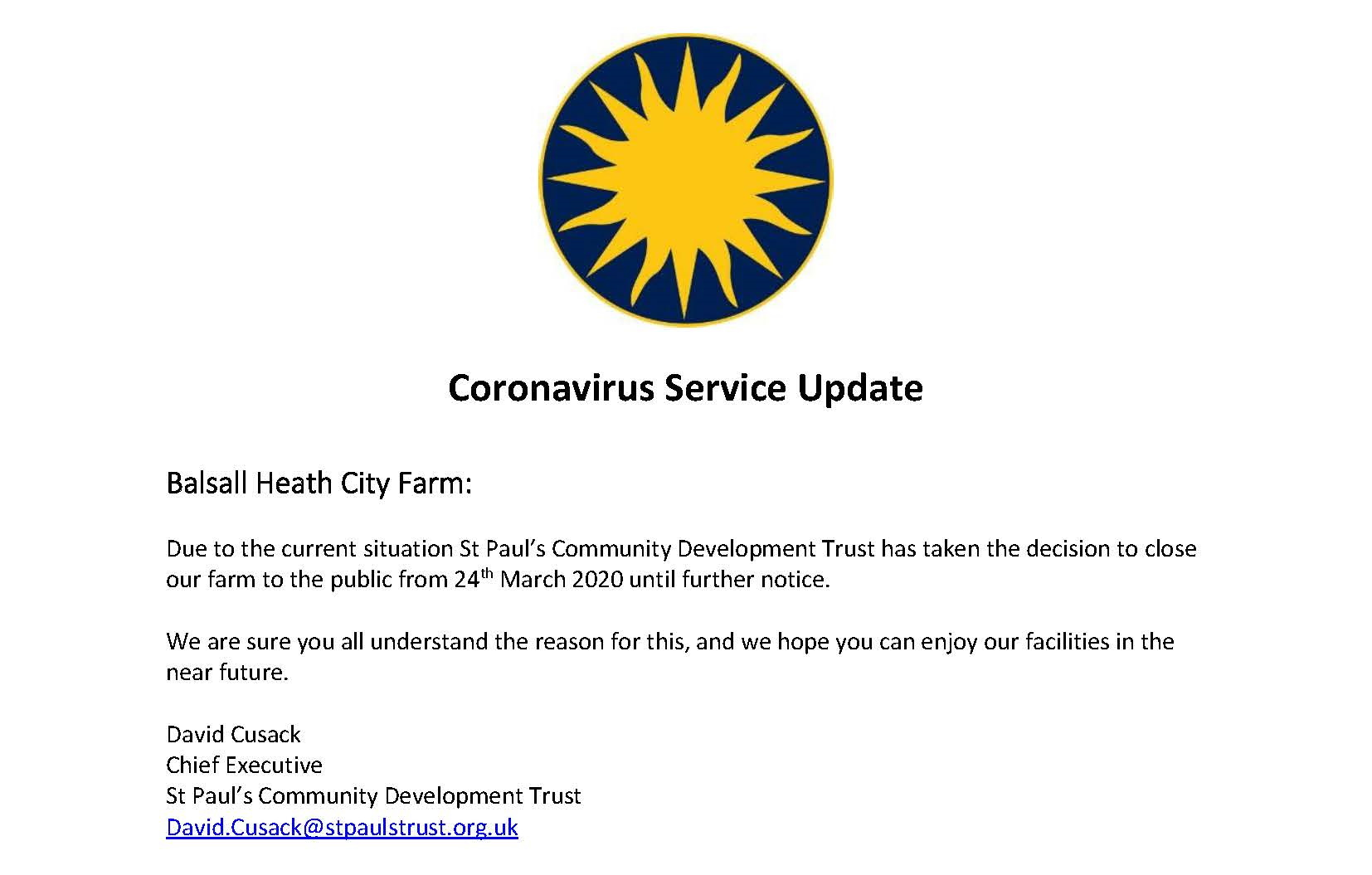 Farm Closure 23/03/2020 Covid-19