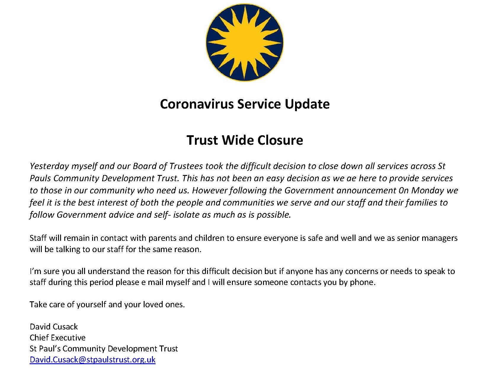 Trust Closure Statement from CEO RE Covid-19.
