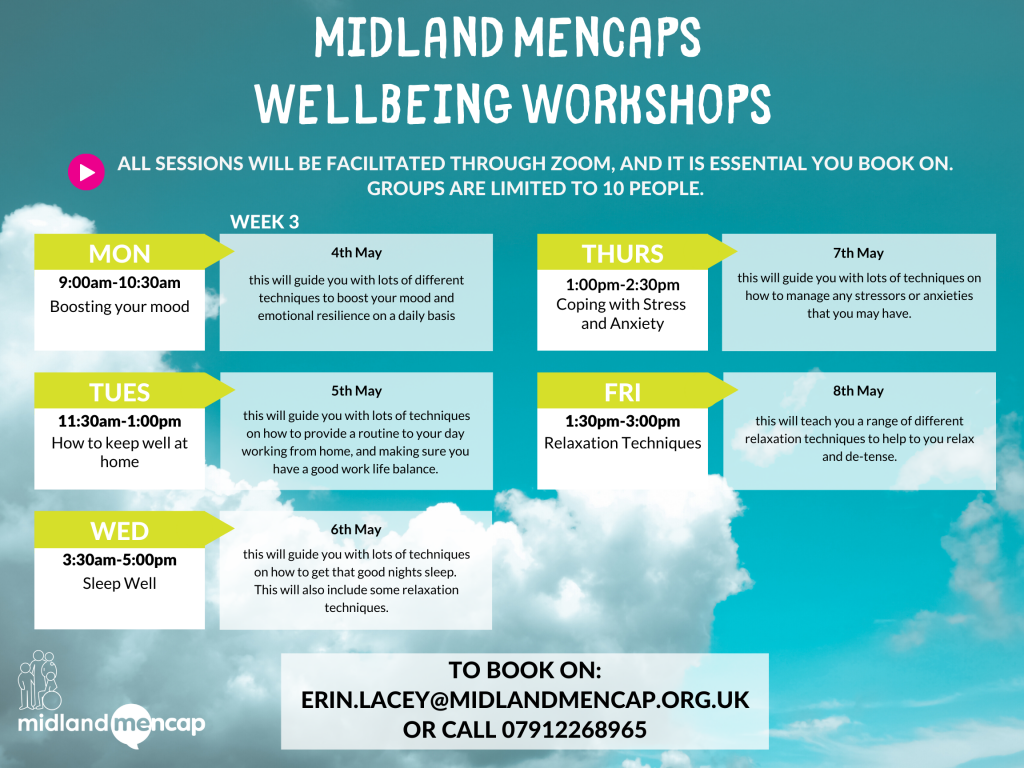 Midland Mencap Wellbeing Workshops 4th May - 8th May #1