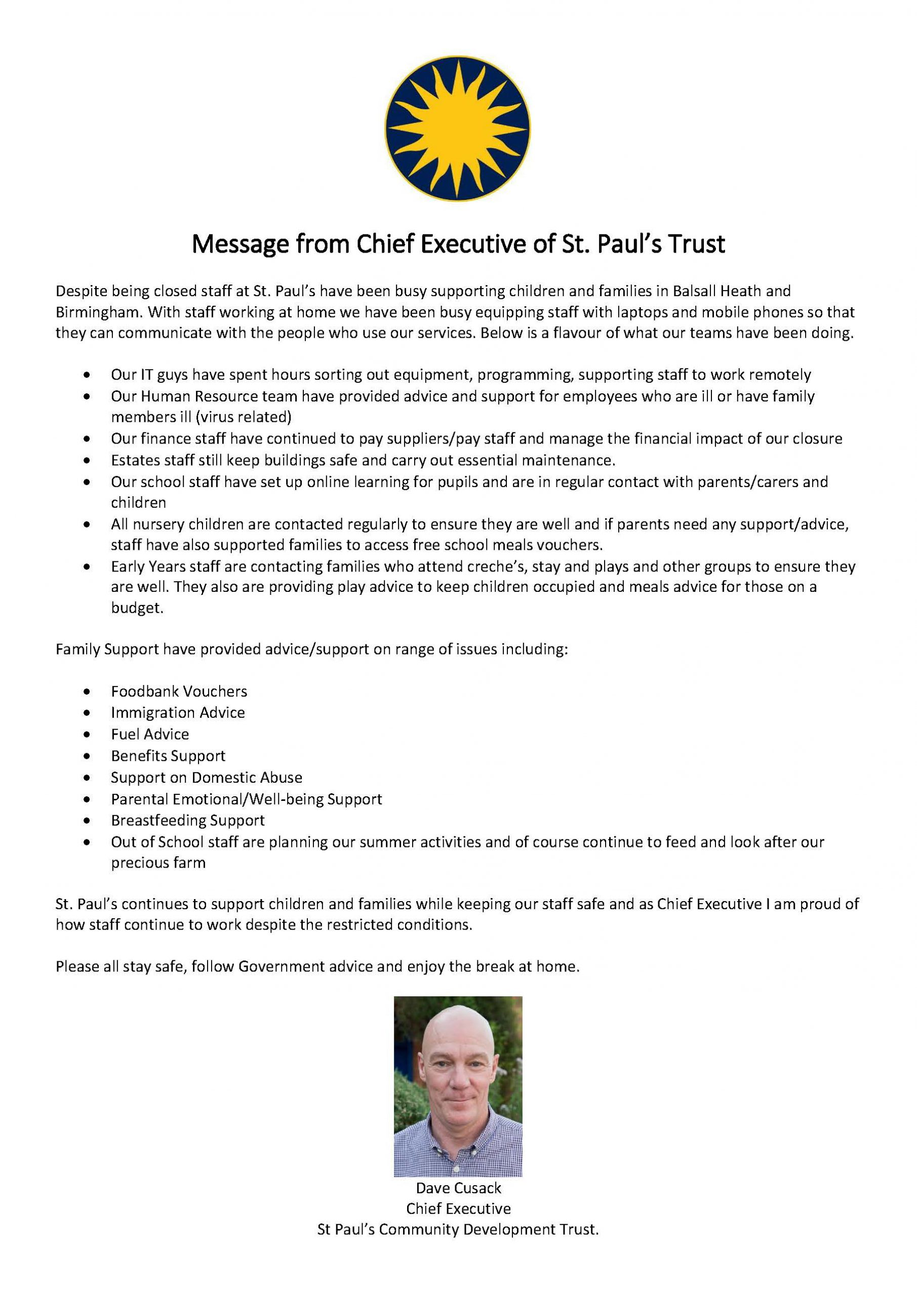 Message from CEO April 2020