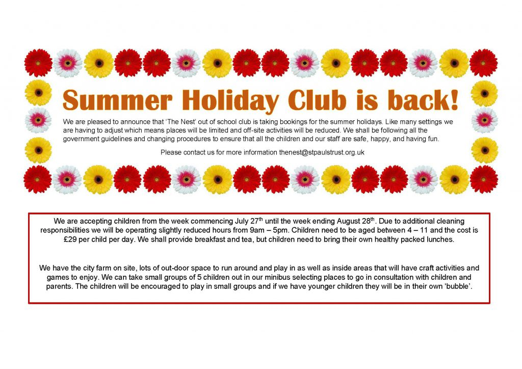 Holiday Club at the Venture July 27th 2020